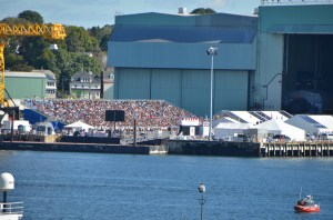 Looking across the river to the crowd gathered for the christening of the USS Illinois.