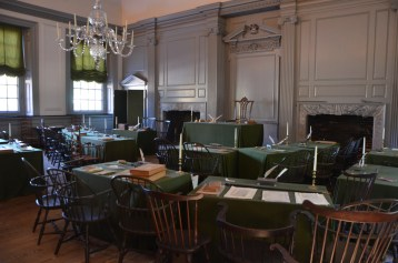 Inside Independence Hall, the congress met here, while the layout is pretty much known, the furniture isn't well documented, so this is a best guess.