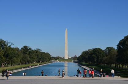 Looking down the reflecting pond from the Lincoln Memorial.