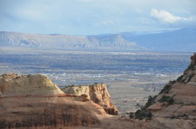Looking out at the Colorado River valley. The town of Fruita.