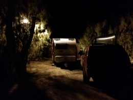My spot in the trailer park. Huge streetlamp adjacent to my site meant it never got dark.