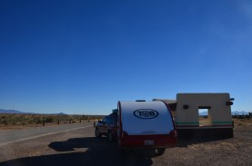 Rest area near Gage NM. The picnic shelters mimic adobe construction.