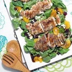 Cranberry orange spinach salad with chicken
