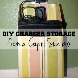 DiY electronic charger storage from a Capri Sun box | One Mama's Daily Drama --- This is an easy upcycling project! All you need is a box.