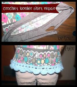 Crochet border to repair a shirt