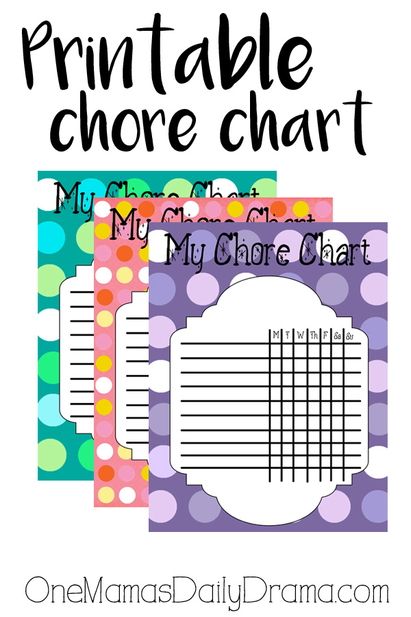 Printable chore chart for kids