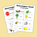 Printable scavenger hunt game