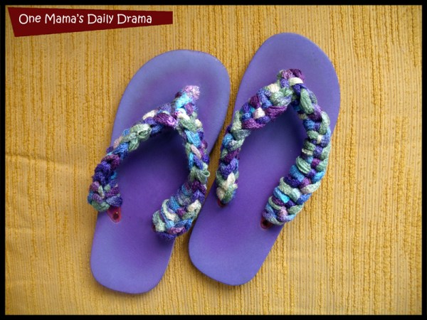 Crochet flip flop diy: an easy step by step tutorial by One Mama's Daily Drama