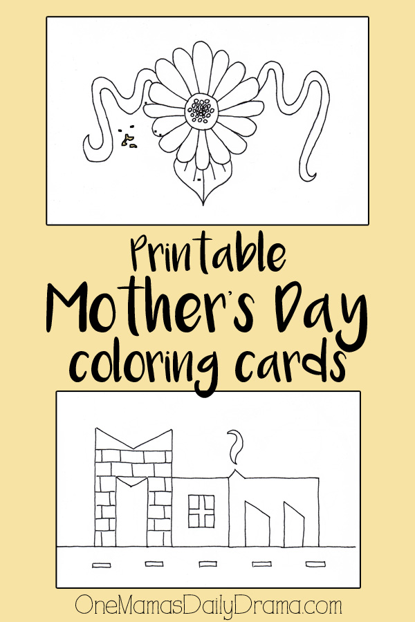 Printable Mother's Day coloring cards for kids