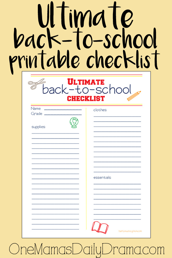 Ultimate back-to-school printable checklist