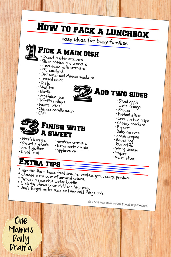 Fail-proof lunch box packing list | free printable for back to shcool
