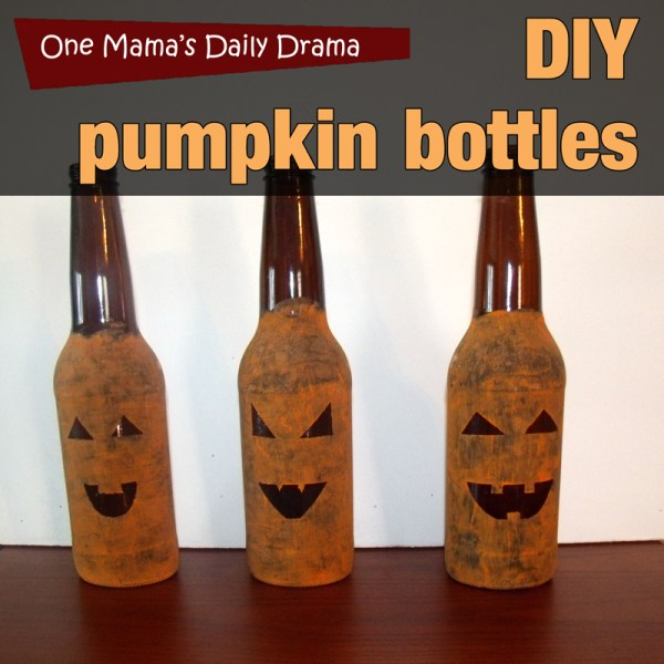 DIY pumpkin bottles: upcycle empty containers to make cute Halloween jack-o-lanterns | One Mama's Daily Drama