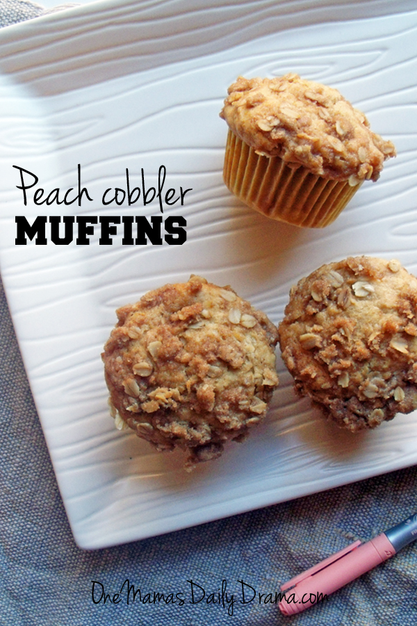 Peach cobbler muffins | One Mama's Daily Drama --- This yummy recipe has all the flavor of peach cobbler, baked into a muffin. It's perfect for snacking and sharing!