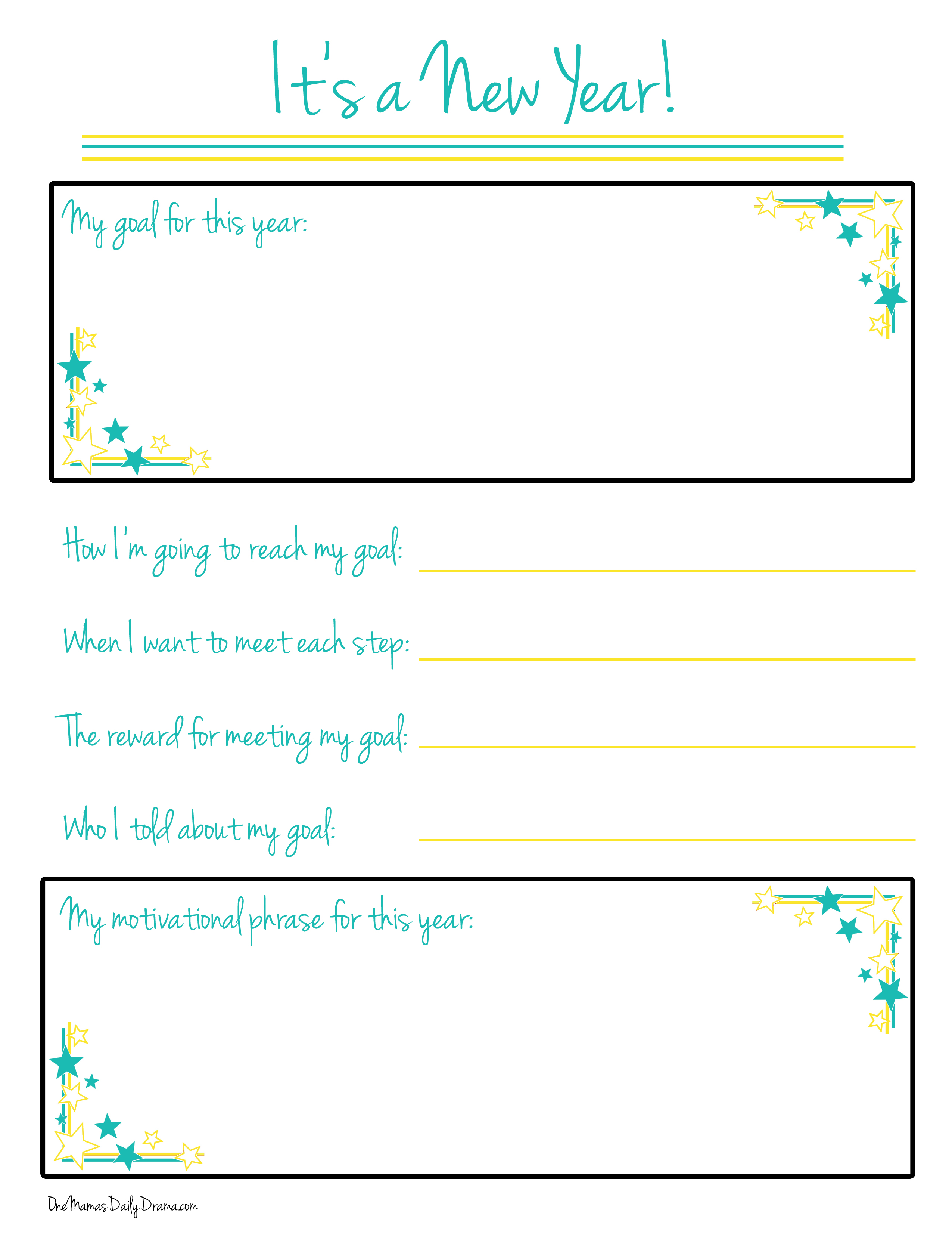 New Years Goal Printable
