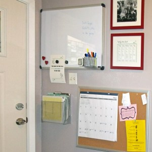 6 things to put in a family command center | One Mama's Daily Drama --- Organize mail, school notes, & paperwork with this easy solution. I love how little space this takes up!