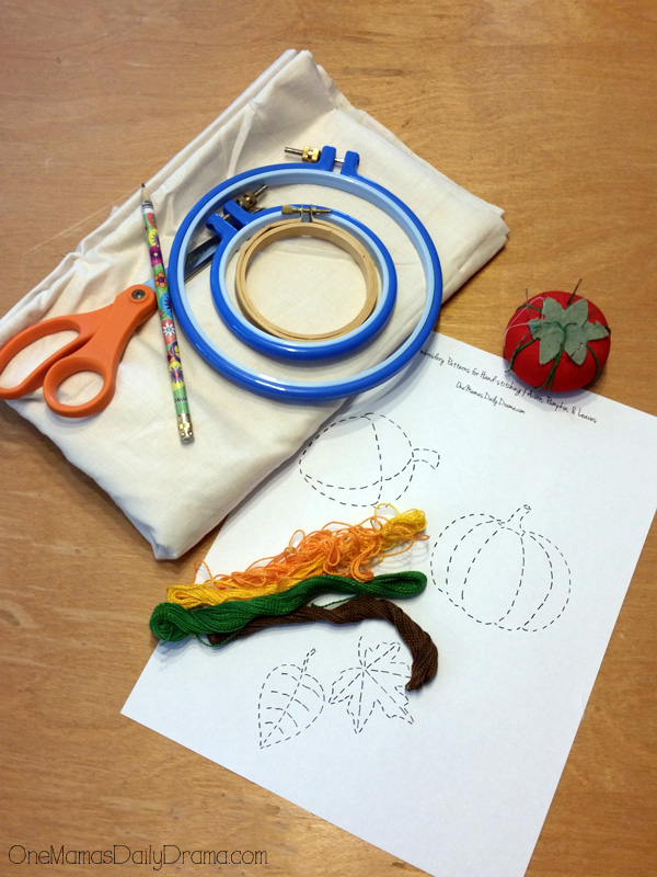 Fall bunting embroidery supplies