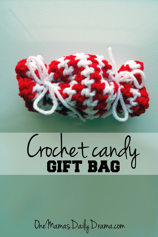 Crochet candy gift bag | One Mama's Daily Drama --- Crochet a sweet bag to hold candy and other small stocking stuffers.