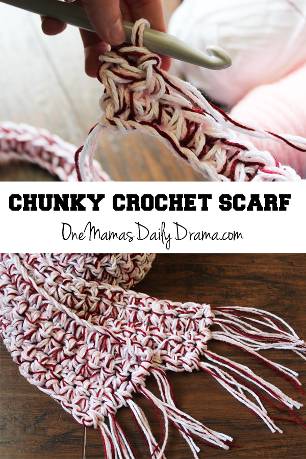 Chunky crochet scarf | from One Mama's Daily Drama --- Learn how to crochet an easy scarf using 3 kinds of yarn + a big hook!