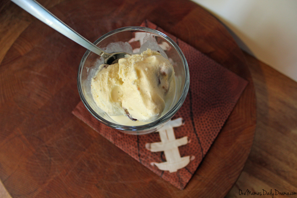 Homemade Snickers ice cream recipe + Big Game football party ideas | from One Mama's Daily Drama