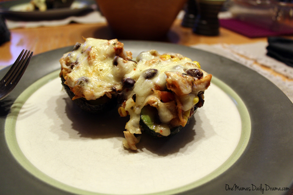 Southwest stuffed avocados | from One Mama's Daily Drama --- Spicy chicken, beans, and cheese stuffed in an avocado half.