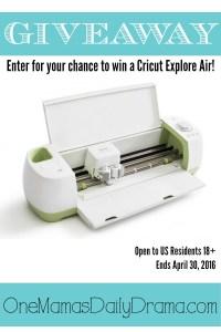 Cricut Explore Air Giveaway | Enter to win April 20-30, 2016