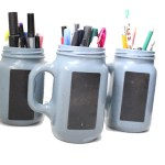 Painted jam jar pen and pencil holders