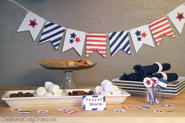Red, white, and blue party printables | bunting