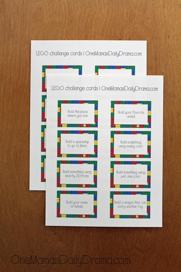 Printable LEGO challenge card game from OneMamasDailyDrama