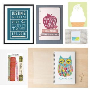 Personalized school supplies with the Minted Back to School Shop