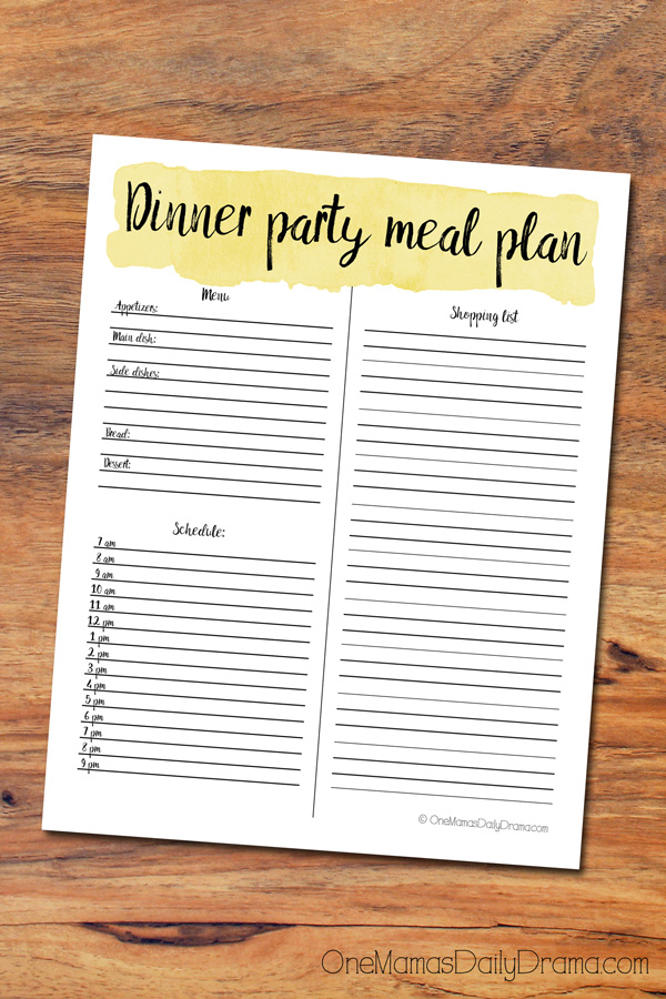 Dinner party meal plan