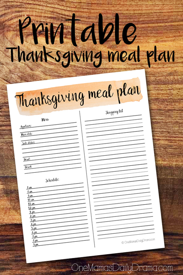 Printable Thanksgiving meal plan page