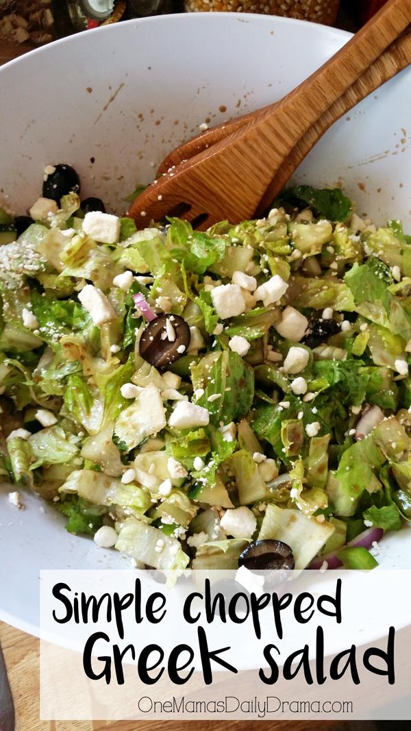 Simple chopped Greek salad recipe from OneMamasDailyDrama.com