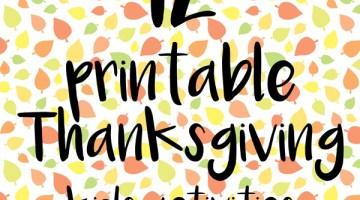12 printable Thanksgiving kids activities