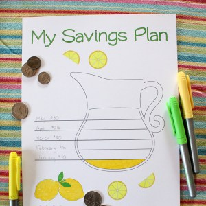 Lemonade coloring savings tracker