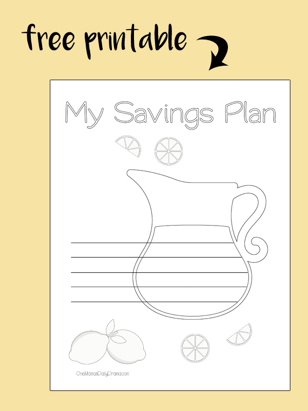 Free printable! Lemonade pitcher coloring savings tracker