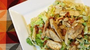 Chicken caesar pasta salad with bacon