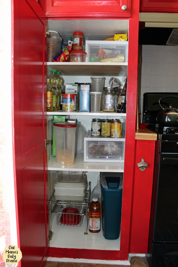 Peek inside One Mama's pantry to see how it's organized by category in a small weird-shaped space.