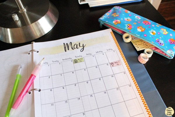 Use pretty washi tape to mark the edges of your planner calendar pages.