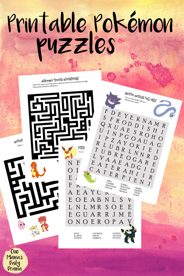 Printable Pokemon Puzzles   Mazes And Word Search