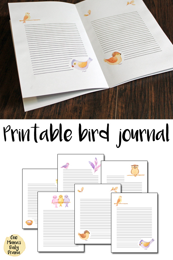 Printable bird journal with assembly tutorial | 6 watercolor notebook pages from One Mama's Daily Drama