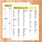 Printable master grocery list