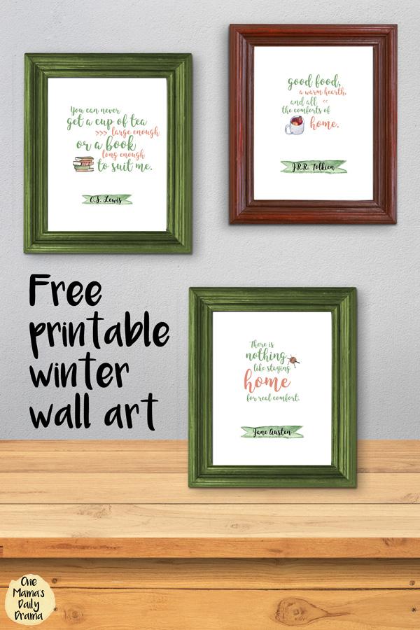 Free printable winter wall art quotes / JRR Tolkien, CS Lewis, Jane Austen