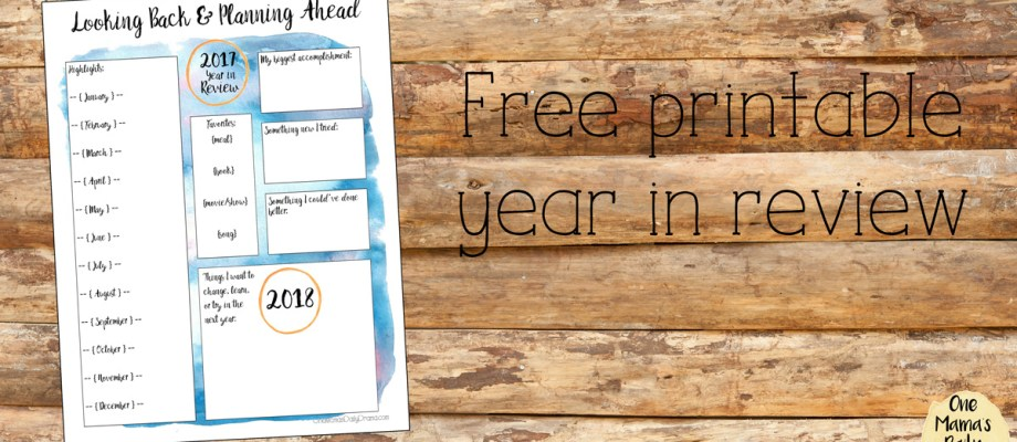 Free printable year in review planner page for adults