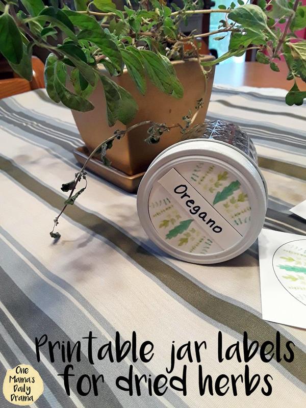 Printable herb jar labels for dried herbs