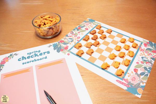 Printable spring checkers game / Cheddar vs. Pretzel Goldfish crackers