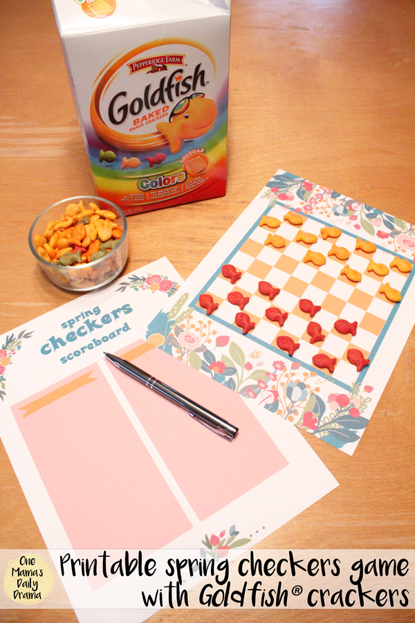 Printable spring checkers game with Goldfish® crackers