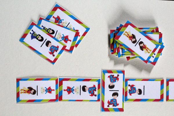superhero dominoes in a row