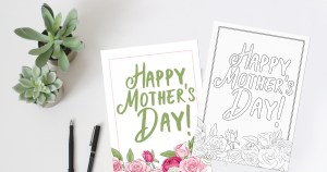Printable Mother's Day coloring card