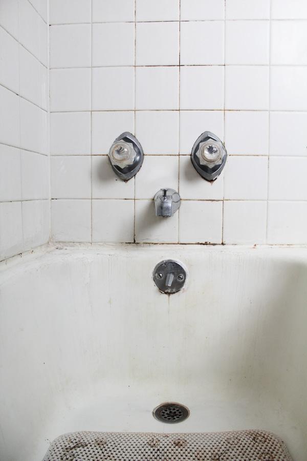 bathroom remodel: drain view before