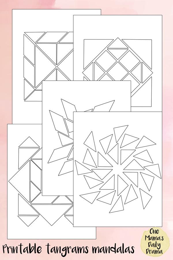 printable tangrams mandalas - white